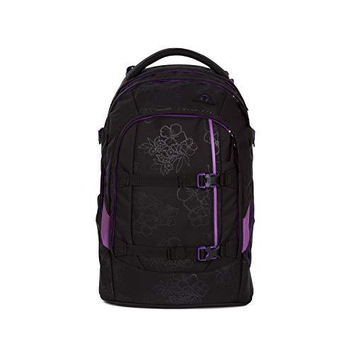 Satch Pack Purple Hibiscus, ergonomischer Schulrucksack, 30 Liter, Organisationstalent, Schwarz/Lila -