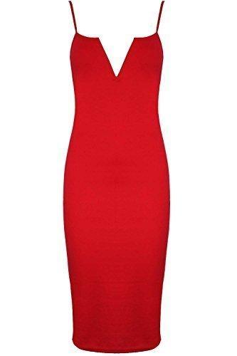 Womens Ladies Strappy Plunge V Neck Bralet Bodycon Midi Dress Plus Size UK 8-22