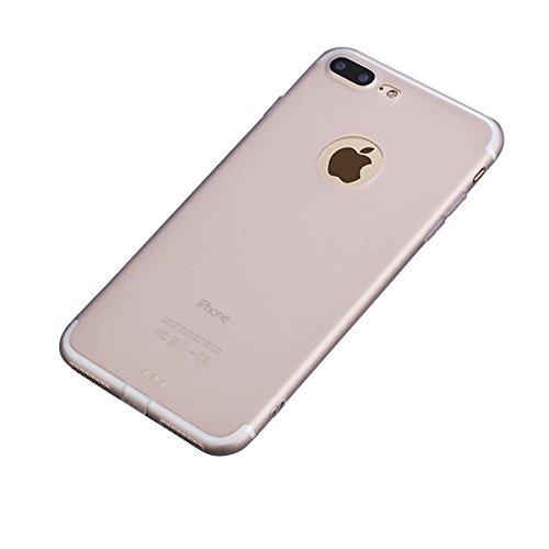 Minto Hülle und Panzerglasfolie für iPhone 8 / iPhone 7 - Slim TPU Soft Touch Silikon Cover Case Handy Schutzhülle - matt rosa Weiß -i7+