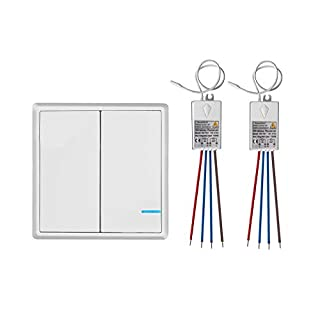 TSSS 2 Way Wireless Lights Switch with Receiver - Remote Multiunit House Lighting Lamps - Quick Create or Relocate On/off No Wiring Switches Panel - Outdoor 1900ft Indoors 160ft