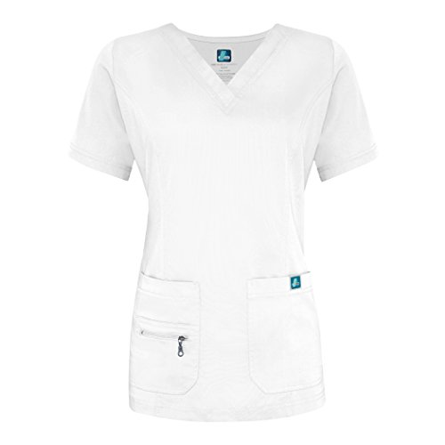 Adar Indulgenc Jr. Fit Enhanced OP-Oberteil mit V-Ausschnitt Gr. Large, weiß (Boop Wrap Mock)