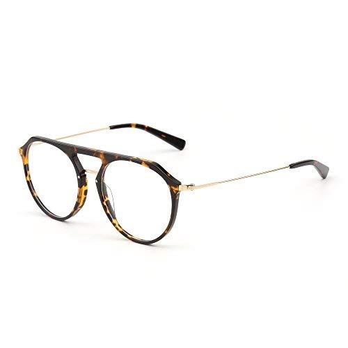 JIM HALO RX Brille Rahmen Leicht Gewichts Rund Rxable Gläser Optischer Rahmen Damen Herren(Schildkröte/Klar)