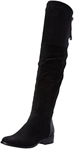 Angkorly - Scarpe Moda Stivali Alti Stivali - Scarponi cavalier bi-materiale donna pelle di serpente zip strass Tacco a blocco 3.5 CM Nero