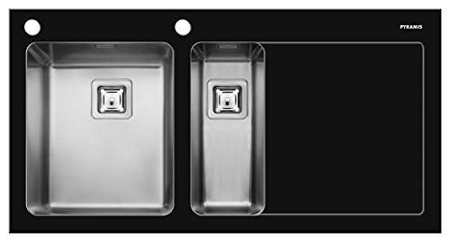 Pyramis 109504730 CRYSTALON (100X52) 1 1/2B1D S LH Einbauspüle Schwarzes Glas mit Facettenschliff, Edelstahlbecken