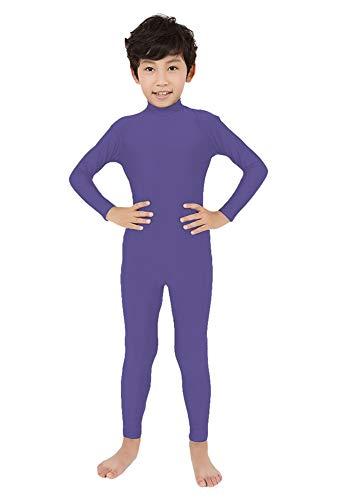 SK Studio Kind Ganzkörperanzug Kostüm Lange Ärmel Bodysuit Kostüm Zentai Offene Bodysuit Kostüm Light Lila M