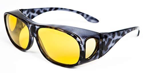 Opticaid Nachtsichtbrille zum Überfahren über die Brille getragen werden kann, polarisiert, blendfrei, schwarz, Demi Bernstein, Kategorie 1