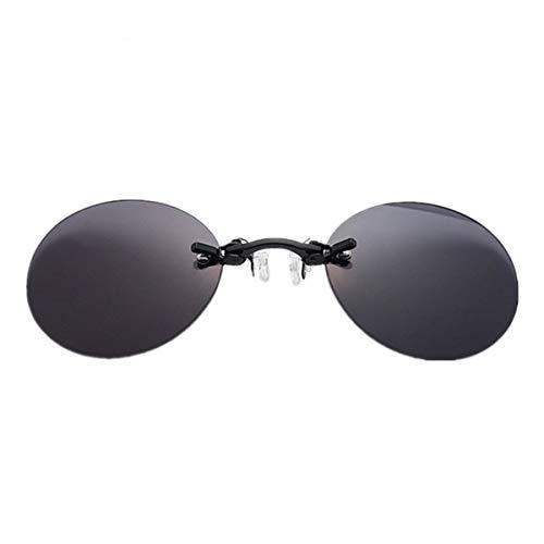 Sport-Sonnenbrillen, Vintage Sonnenbrillen, Fashion Clip On Nose Sunglasses Men Vintage Mini Round Sun Glasses Hacker Empire Matrix Morpheus Rimless Sunglasses UV400 Black