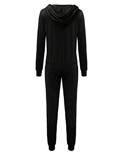 ZANZEA Femme Survêtement 2 Pcs Jogging Pantalons Sport Vestes à Capuches Singe Tops Hauts Noir