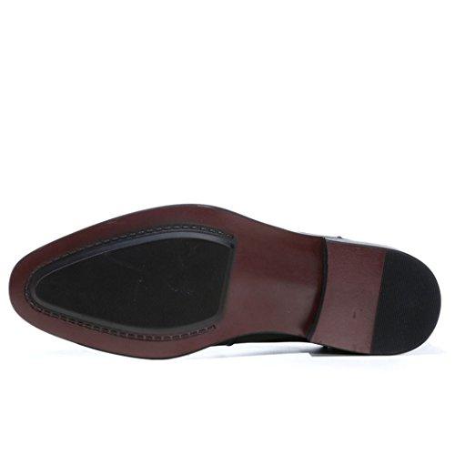 HHY-Business vestono scarpe in pelle appuntita Mens scarpe cravatta Claret