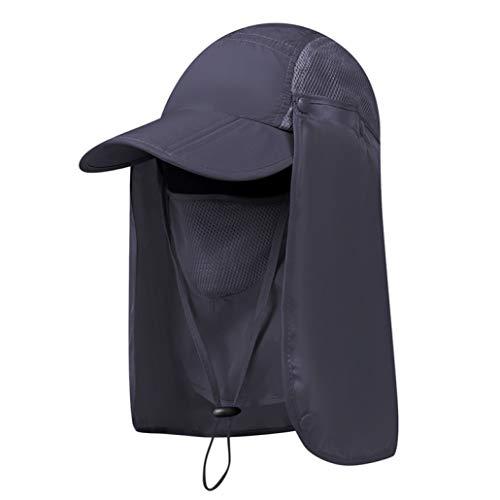 JOYOTER Atmungsaktive Angelhüte Abnehmbare Nackenklappe & Gesichtsmaske Sonnenschutz UV-Schutz Wide Brim Hiking Cap