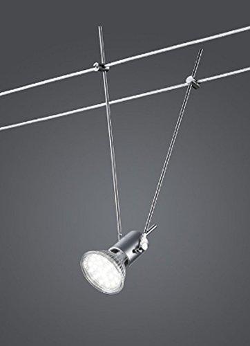 KHL LED Spot Seilsystem 12V 25cm titanfarbig 3 Watt GU5,3 warmweiß inklusive Leuchtmittel KH7700-87