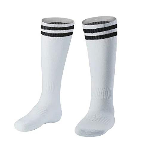 WADUANRUN Fußballstutzen/Kinder tragen über dem Knie Fußball Socken schweißabsorbierende rutschfeste Sportsocken 35-43 schwarz gestreift -
