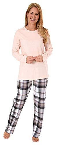 NORMANN WÄSCHEFABRIK Damen Flanell Pyjama Mix & Match Hose Flanell, Top Single Jersey - auch in Übergrössen, Farbe:rosa, Größe2:40/42 - Rose Flanell-pyjama