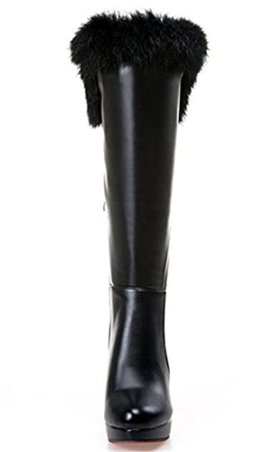 YE Plateau High Heel Stiletto Schnürstiefel mit Fell Elegant Fashion 11cm Absatz Warm Gefütterte Herbst Winter Damenstiefel Schwarz