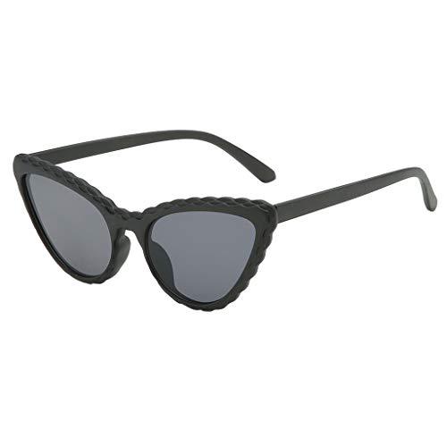VENMO Mode Herren Retro kleine ovale Sonnenbrille für Damen Metallrahmen Shades Brillen Katzenauge Metall Rand Rahmen Damen Frau Mode Sonnebrille Gespiegelte Linse Women Sunglasses (I-A)