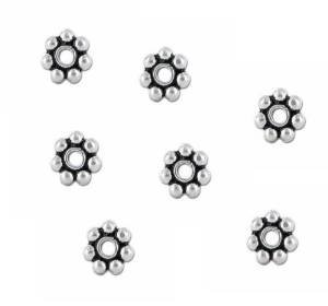 Beautiful Bead 5mm Sterling Silver Bali Daisy Spacer Beads White Bronze Core for Bracelets DIY Jewelry Making (About 100pcs ) by Beautiful Bead