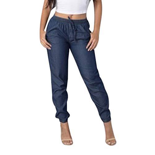 Colore solido jeans a vita media, retro e eleganti denim pantaloni comode elastico in vita pantaloni con tasche donna taglie forti pantaloni in denim streetwear