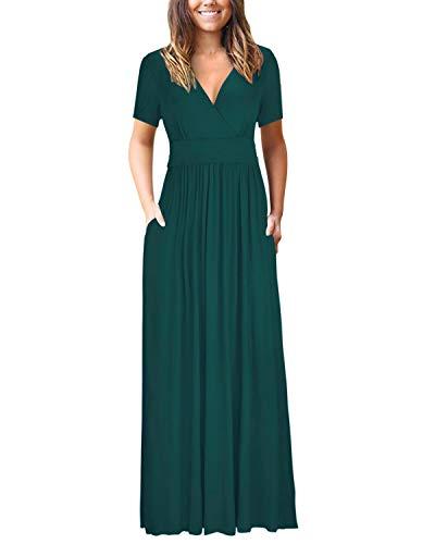 Bequemer Laden Damen Kleider Kurzarm V-Ausschnitt Lose Sommer Casual Lang Maxikleider mit Taschen, Grün, M - Lange Ärmel, Eine Tasche