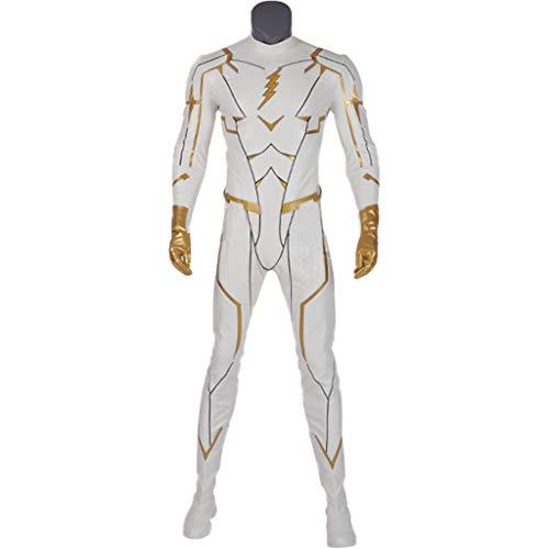 nihiug Flash Staffel 5 Boss Gott Geschwindigkeit White Lightning Battlesuit Kostüm Cos - Flash Kostüm Staffel 2