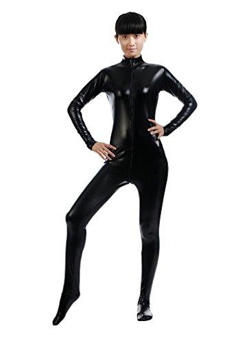 CHENGYANG Unisexe Seconde Peau Costume Manches Longues Stretch Fancy Dress Noir