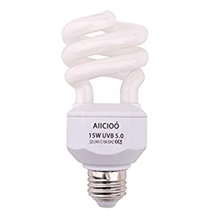AIICIOO 5.0 Reptile UVB Bulb 15W Tropical Compact Fluorescent Bulb for Reptile Tortoise Lizard Succulent Plants Improve D3 Synthesis Increase Calcium Absorption