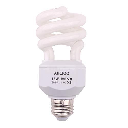 5.0 Lampada UVB 15W 10% compatta e fluorescente per rettili migliorare la sintesi di D3 Alta uscita UVB per lucertola tartaruga 220-240V E27