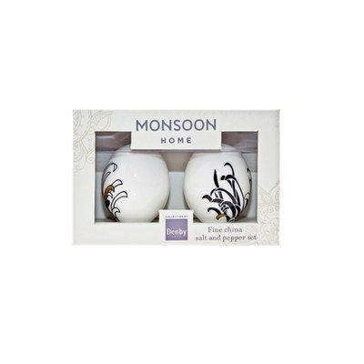 Denby 7 x 6 x 5.4 cm China Monsoon Chrysanthemum Salt and Pepper Pot Set, Set of 2, Black