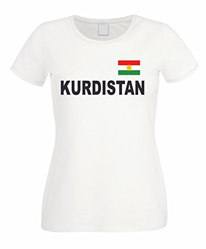 HB_Druck Kurdistan Damen T-Shirt mit Flagge Weiß S