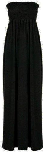 Nouveau rassemblement de dames Boob Sheering Robe Boob Tube Plage Maxi 8-26 Black