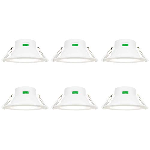 10W LED Einbauleuchten Einbaulampen Decke Flach Feuchtraum IP44 Ohne Trafo 230V Dimmbar Warmweiß und Kaltweiß Lochmaß Durchmesser 90-105MM 6er Lampen von Enuotek