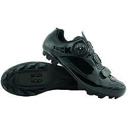 Zapatillas de Ciclismo LUCK Pro 0.17 MTB, con Suela de Carbono de 4mm y Cierre rotativo de Alta precisión para una sujeción (40 EU, Negro)