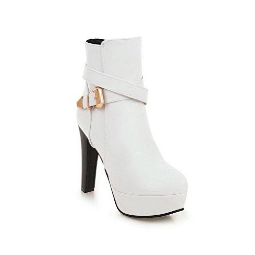 AgooLar Damen PU Rund Zehe Reißverschluss Hoher Absatz Stiefel, Weiß-Wasserdicht Plattform, 36