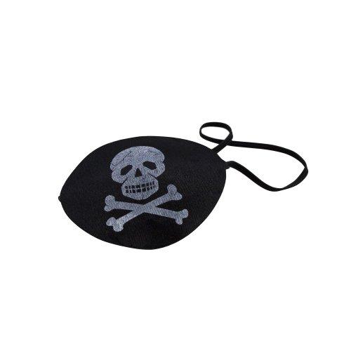 BestSaller 1535 Piraten-Augenklappe mit Stretchband, Totenkopfaufdruck, schwarz (1 Stück) (Schwarze Piraten Augenklappe)
