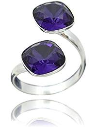 Crystals & Stones anillo de plata de ley piedra Swarovski con diseño cuadrado y varios colores
