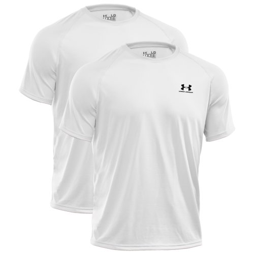 UNDER ARMOUR Herren HeatGear Regular TECH Shortsleeve Tee 2er Pack Weiß-Weiß 100 - XXL (Football Armour Under T-shirt)