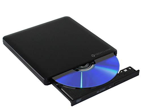 techPulse120 USB 3.1 Type C M-Disc externer DVDRW CDRW Brenner Writer Alu Schwarz Burner Superdrive Laufwerk DVD CD Ultra Slim für Computer Notebook Ultrabook Windows 10 Mac OS Apple iMAC MacBook