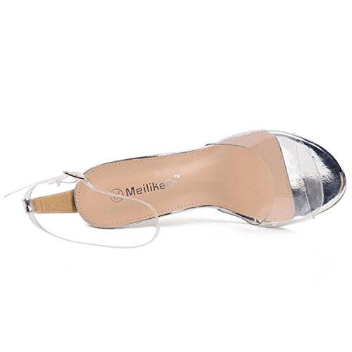 Oasap Damen Offen High Heels Mit Schnalle Transparente Sandalen Silver