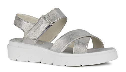 Geox Tamas D92DLE Mujer Sandalias de Vestir,Plataforma Sandalias,fémina Sandalia de la Plataforma,Zapatos de Verano,Sandalia Verano,cómoda Suela,Suela Gruesa,Blanco,40 EU