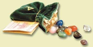 Wicca/libro de campana y vela: Ye Olde magia shoppee runa bordados bolsa con piedra