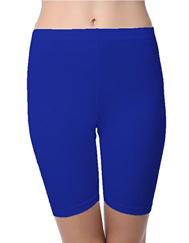 SBF Solid Plain Hosiery Shorts Tight Knee Length Spandex Stretch Athletic Yoga Bike (M, Blue)  available at amazon for Rs.299