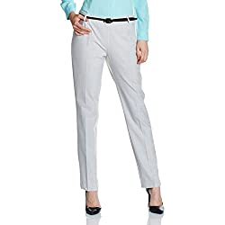Arrow Women's Straight Pants (ATSW6213_Light Grey_32_8907378495792)
