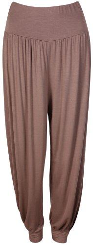 Da donna nuovo lungo Hareem larghi pantaloni harem donna elastico in vita elasticizzato Full leggings pantaloni Mocha