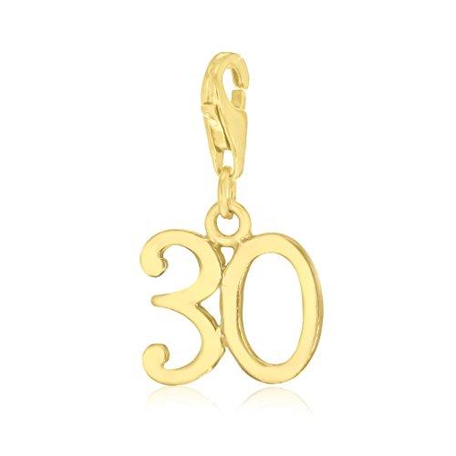 Tuscany Silver Damen Sterling Silber Plattiert Meilensteine Geburtstag '30' Charme Gelbgold