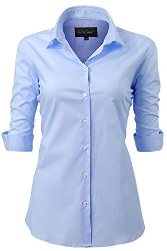 INFLATION Damen Hemd mit Knöpfen Baumwolle Bluse Halbarm 3/4 Ärmelshirt Figurbetonte Hemdbluse Business Oberteil Arbeithemden Hellblau 50/22