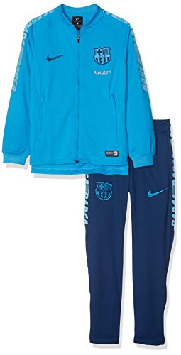 Official 2018 2019 Barcelona Kids Squad Knit Tracksuit, available to buy online in junior sizes small boys, medium boys, large boys, XL boys.This tracksuit forms part of the Barcelona 2018 2019 training range and is manufactured by Nike. This tracksu...
