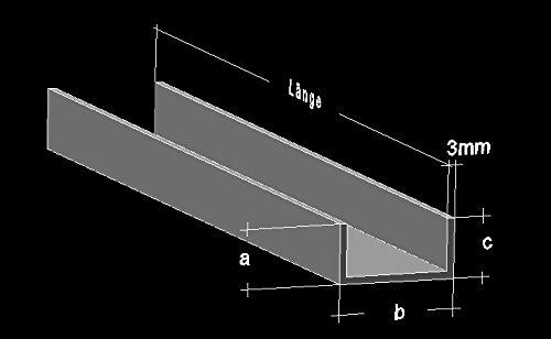 Alu U-Profil 40 x 30 x 40 x 3,0 mm Aluminium AlMgSi0,5 U-Stab Profil Aluprofil U-Stange (600 cm (3 Stck. zu 200 cm))