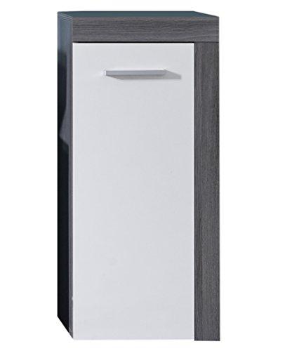 trendteam Badezimmer Kommode Schrank Miami, 36 x 81 x 31 cm in Korpus Rauchsilber Dekor, Front Weiß mit viel Stauraum