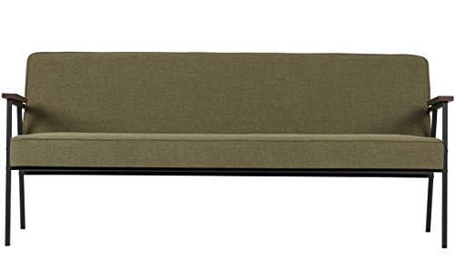 PEGANE Banc de 3 Places en Bois et Tissu Coloris Vert Olive - Dim : H.78 x L.185 x P.80 cm