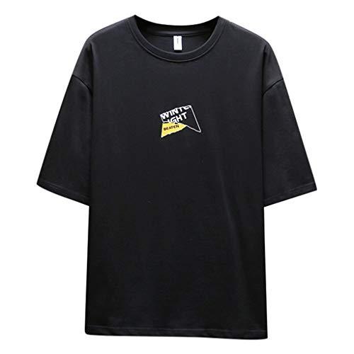 Tyoby Herren Mode halbe Hülse Nähen T-Shirt Bedrucken,Straße Hipster Persönlichkeit Herrenbekleidung (SchwarzB,XXL)