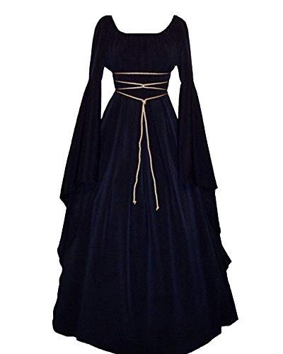 Abbigliamento da Donna Medievale A Maniche Lunghe Girocollo Costume Cosplay di Halloween Abito Vintage Marina L